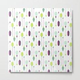 Bohemian green purple trendy feathers arrows pattern Metal Print