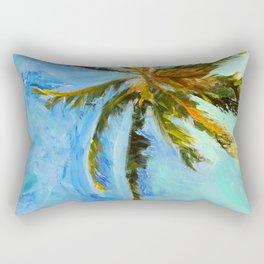 Akumal Palm Tree Painting Rectangular Pillow