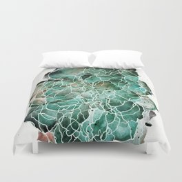 Abstract Watercolor Cloud Painting in Blue, Teal, and Green Duvet Cover