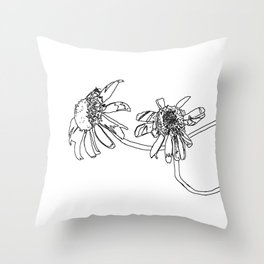 2 daisy flowers, drawing Throw Pillow