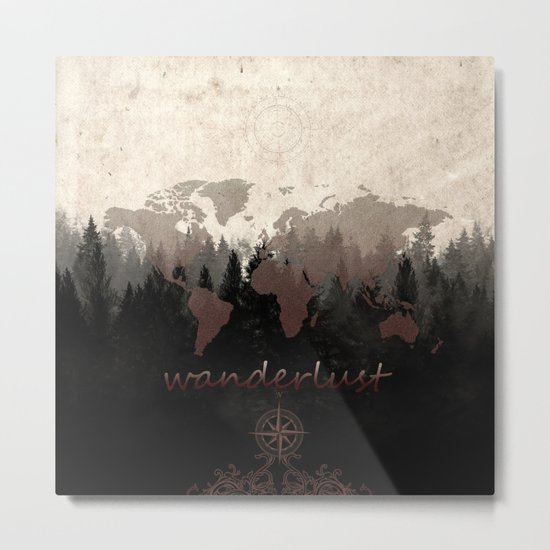 world map wanderlust forest Metal Print