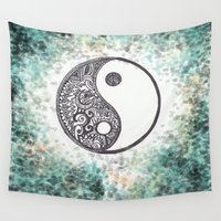 yin yang Wall Tapestries featuring Yin & Yang by Hope