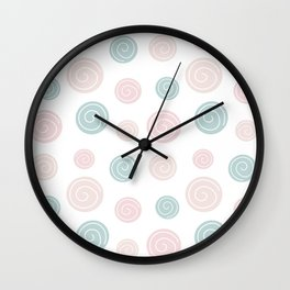 Cute trendy pastel abstract hand drawn seamless pattern illustration with circles modern design Wall Clock