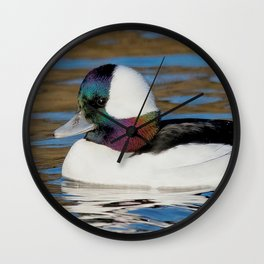 Bufflehead Duck on the Winter Pond Wall Clock