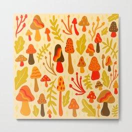 Spring Mushroom Print Metal Print