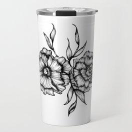 Two Inked Flowers Travel Mug