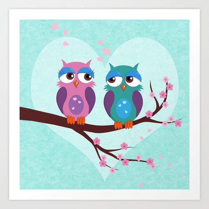 Love owls Art Print