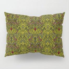 Snake skin abstract reptile leather modern green khaki Pillow Sham