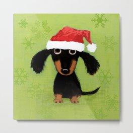 Dachshund Santa Clause   Wiener Dog Christmas Metal Print