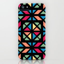 Colorful geometric stained glass black contour iPhone Case