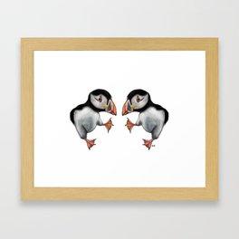 Puffins Dance Framed Art Print