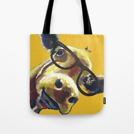 Yellow Glasses Cow, Cow up close glasses Tote Bag