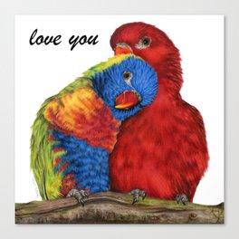 Love You Love Birds Canvas Print