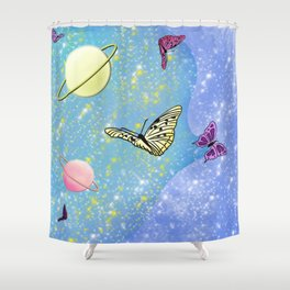 Butterflies and Galaxies Shower Curtain