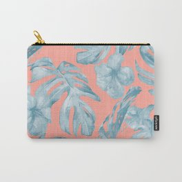 Island Life Pale Teal Blue on Coral Pink Carry-All Pouch