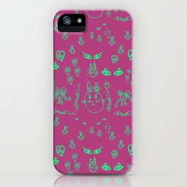 Animal Kids Drawing Pink and Green iPhone Case