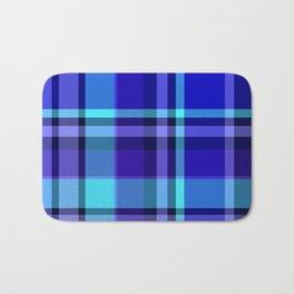 Blue Plaid Pattern Bath Mat