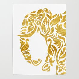 Floral Elephant in Gold Poster