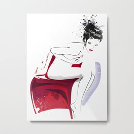 Naked Beauty, Nude Body, Fashion Painting, Fashion IIlustration, Vogue Portrait, Red colour, #14 Metal Print