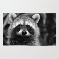 racoon Area & Throw Rugs featuring Racoon B & W by Heidi Ingram