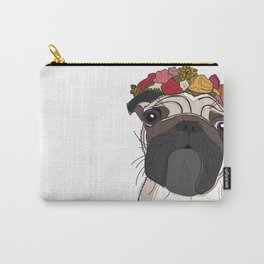 Pug with flowers Carry-All Pouch
