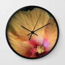 Orange Hibiscus Ruffle Wall Clock