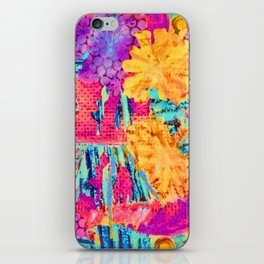 floral collagraph print iPhone Skin