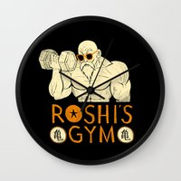 gym Wall Clocks featuring roshi's gym by Louis Roskosch