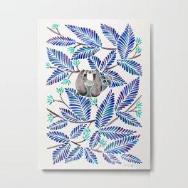 Happy Sloth – Tropical Blue Leaves Metal Print