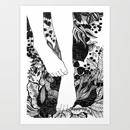 FLOWER FOOTERS Art Print