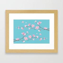 Cherry Blossom - Robin Egg Blue Framed Art Print
