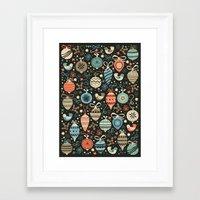 folk Framed Art Prints featuring Festive Folk Charms by Poppy & Red