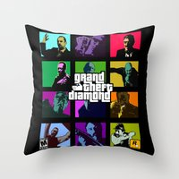 snatch Throw Pillows featuring Grand Theft Diamond Snatchers by Ant Atomic