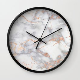 Gray Marble Rosegold  Glitter Pink Metallic Foil Style Wall Clock