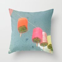 lanterns Throw Pillows featuring Lanterns by Cassia Beck