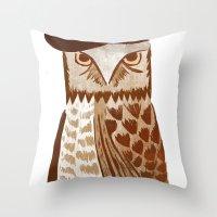 hip hop Throw Pillows featuring Hip Hop Owl by Santiago Uceda