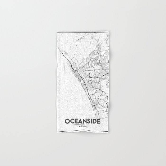 Minimal City Maps - Map Of Oceanside, California, United States Hand & Bath  Towel by valsymot
