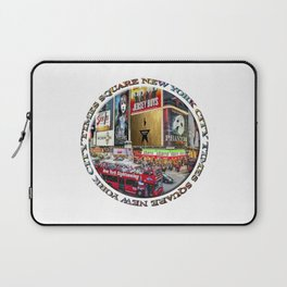 Times Square New York City (badge emblem on white) Laptop Sleeve