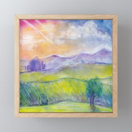 Abstract watercolor landscape with sunset, hills and fields Framed Mini Art Print