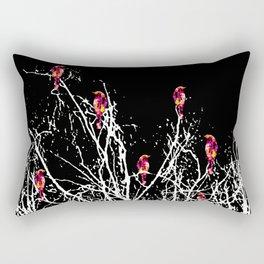 Red Birds Black Rectangular Pillow