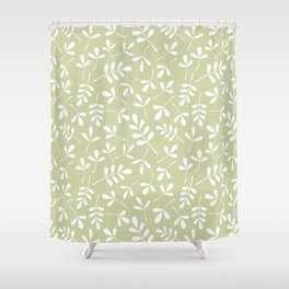 Assorted Leaf Silhouettes White on Lime Ptn Shower Curtain