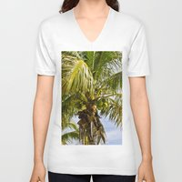 palm trees V-neck T-shirts featuring Palm Trees by Cheryl - DevilBear Photography