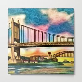 New York & Queens Hell Gate and Triborough Bridges Sunset Landscape Painting Metal Print