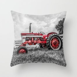 IH 240 Side View Selective Red Farmall Tractor Throw Pillow