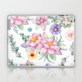 Pastel pink lavender green watercolor hand painted floral Laptop & iPad Skin