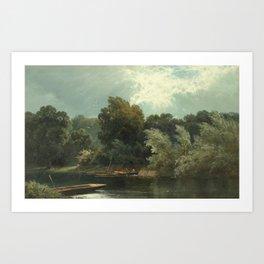 Alfred de Bréanski - The Silvery Thames at Ditton (1880s) Art Print