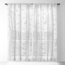 Woodcut Birches Grey Sheer Curtain