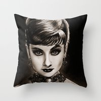 audrey Throw Pillows featuring Audrey  by Isaiah K. Stephens