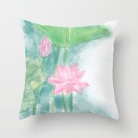 lotus flower Throw Pillows featuring Lotus by marryweather