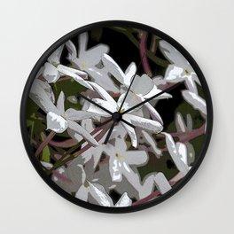 White Jasmines Wall Clock